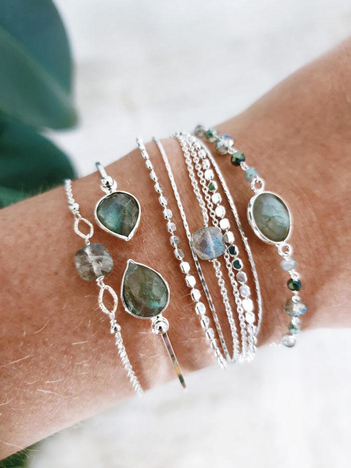 Composition de bracelets argent et pierre naturelle: Labradorite