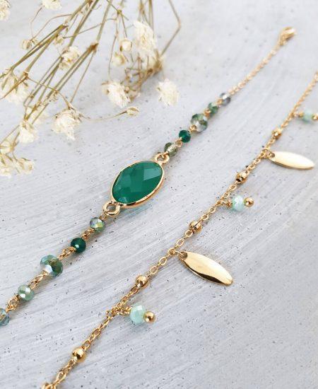bracelet Victoria or et vert et bracelet emilie